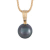 18K Yellow Gold Tahitian Cultured Black Pearl Pendant
