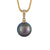9K Yellow Gold Tahitian Cultured Black Pearl Pendant
