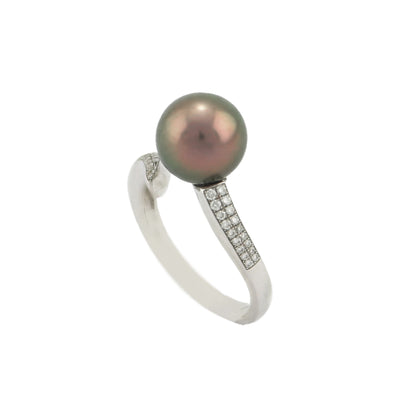 18K White Gold Tahitian Cultured Black Pearl Ring