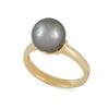 9K Yellow Gold Tahitian Cultured Black Pearl Ring