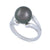 9K White Gold Tahitian Cultured Black Pearl Ring