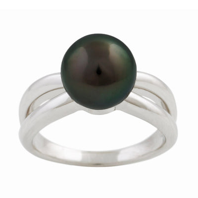 Sterling Silver Tahitian Cultured Black Pearl Ring