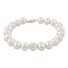 Sterling Silver Freshwater Pearl 8.5-9.5mm Bracelet With Crystal Clay Ball