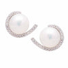 Sterling Silver Freshwater Pearl & Cubic Zirconia 7-8 mm Earrings