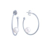 Sterling Silver Freshwater Pearl 7-8mm Hoop Earrings