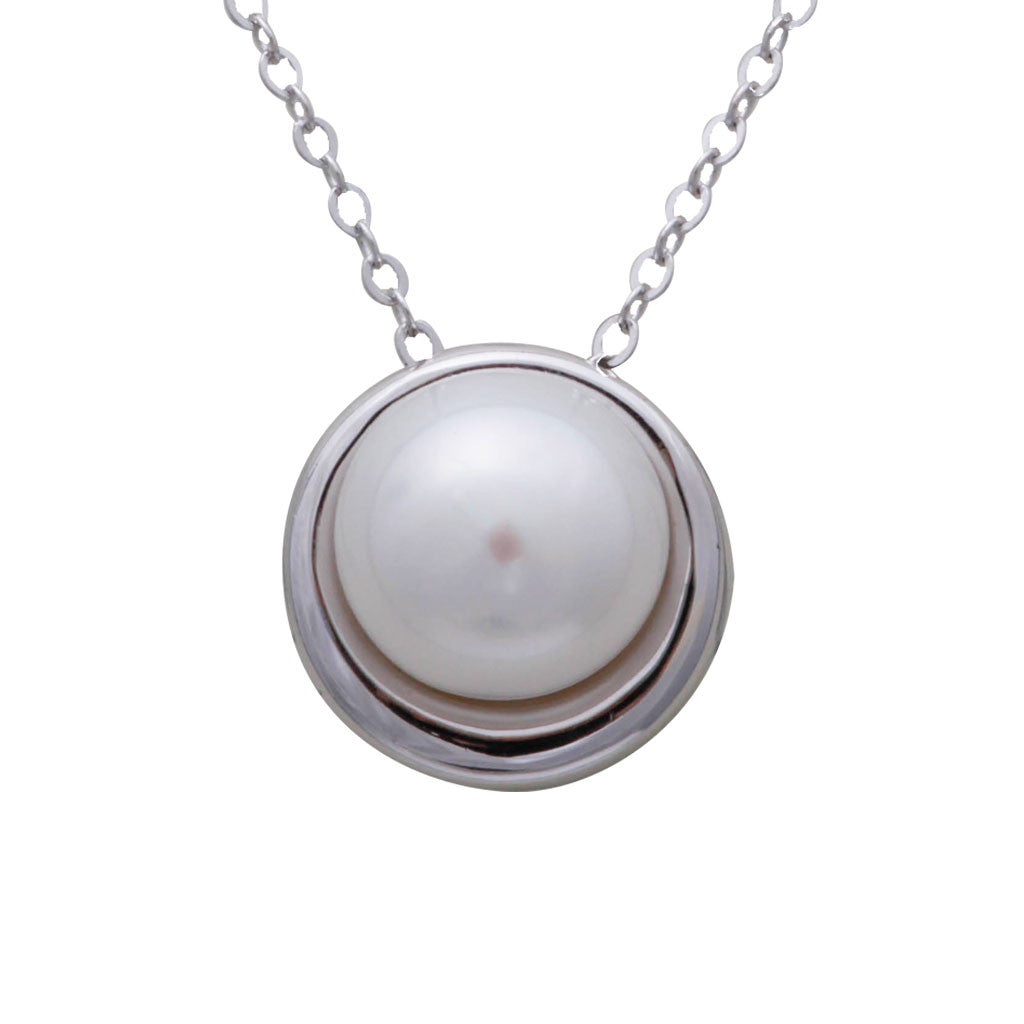Sterling Silver Freshwater Pearl 10.5-11 mm Pendant on Necklace 45cm