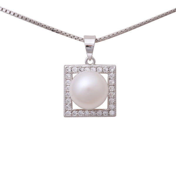Sterling Silver Freshwater Pearl 8.5-9mm Cubic Zirconia Pendant