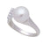 Sterling Silver Freshwater Pearl & Cubic Zirconia 9-10 mm Ring