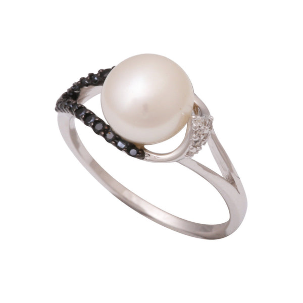 Sterling Silver Freshwater Pearl 9.5-10mm Black Spinel & Cubic Zirconia Ring