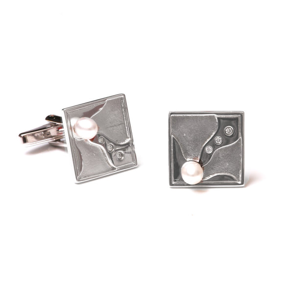 Sterling Silver Australian South Sea Cultured Pearl Cufflinks