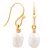 18K Yellow Gold Australian South Sea Keshi Pearl Hook Earrings