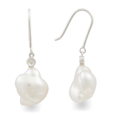 18K White Gold Australian South Sea Keshi Pearl Hook Earrings