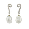 18K White Gold Australian South Sea Keshi Pearl Drop Earrings