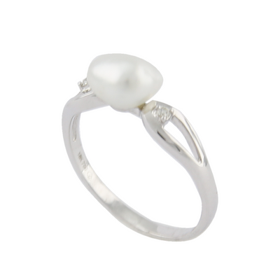 18K White Gold Australian South Sea Keshi Pearl Ring