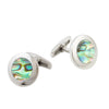 Stainless Steel Abalone Shell Round Cufflinks