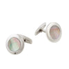 Stainless Steel Black Mother Of Pearl Round Cufflinks