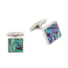 Stainless Steel Abalone Shell Square Cufflinks