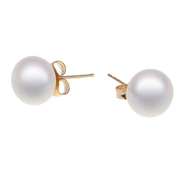 9K Yellow Gold Freshwater Pearl 7.5-8 mm Stud Earrings