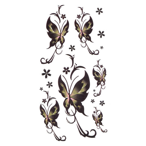 Long Tail Butterflys Temporary Tattoo Themed Sheet