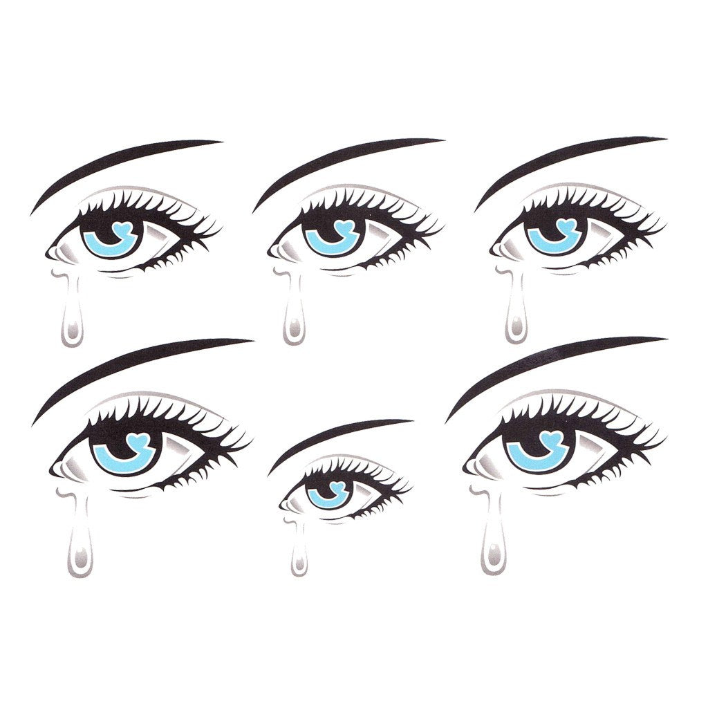 Crying Eyes Temporary Tattoo Themed Sheet | Temporary ...