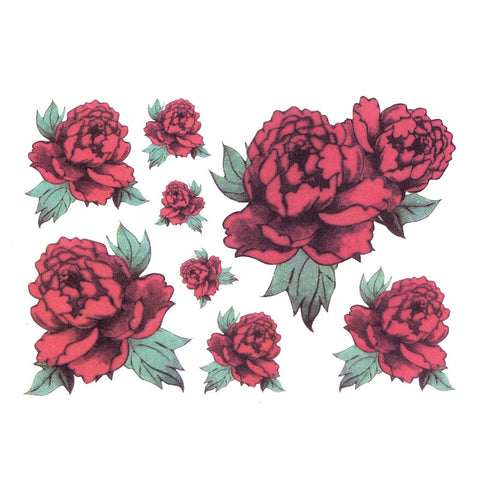 Red Roses Temporary Tattoo Themed Sheet