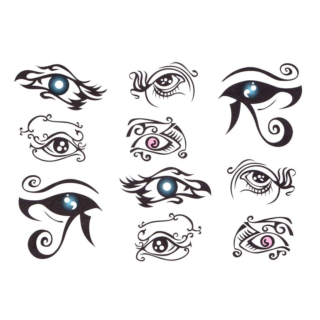 067009f937d34 Tribal Eyes Temporary Tattoo Themed Sheet | Temporary Tattoo Art