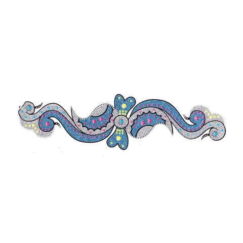 Temporary Tattoo - Blue And Silver Bow Crystal Temporary Tattoo Sticker