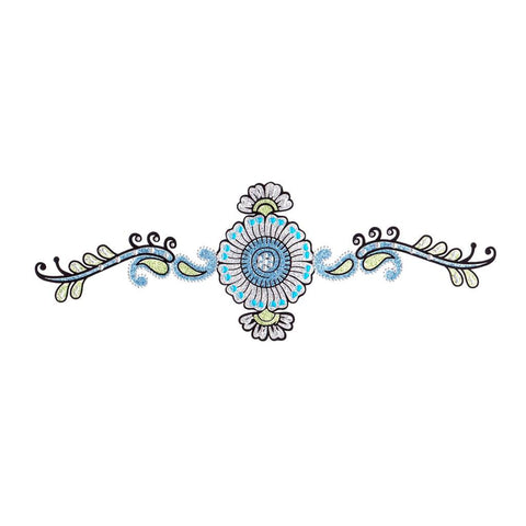 Temporary Tattoo - Blue Flower Crystal Temporary Tattoo Sticker