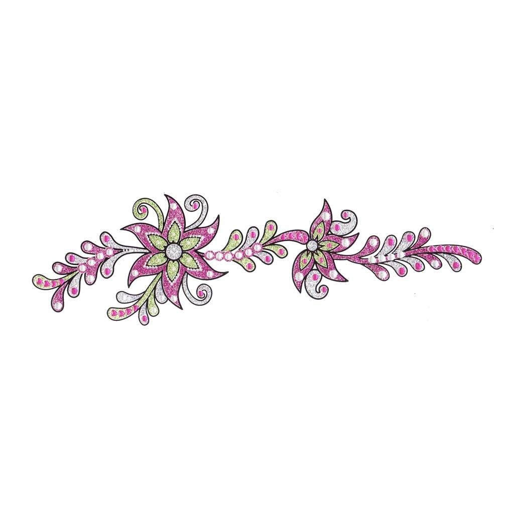 Pink flower crystal temporary tattoo sticker temporary for Temporary tattoo sticker