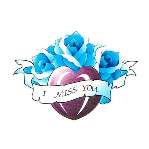 Heart With Blue Roses Mini Temporary Tattoo