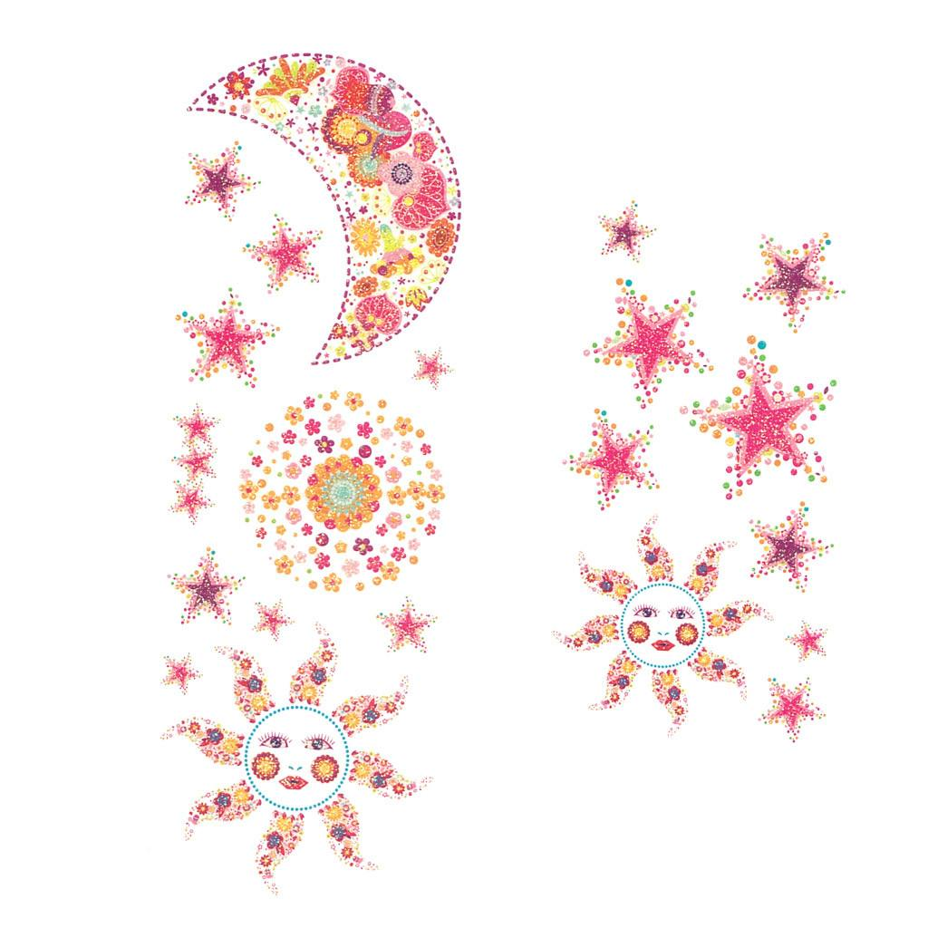 Temporary Tattoo - Moon And Sun Pink Glitter Temporary Tattoo