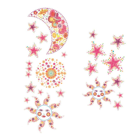 Moon And Sun Pink Glitter Temporary Tattoo