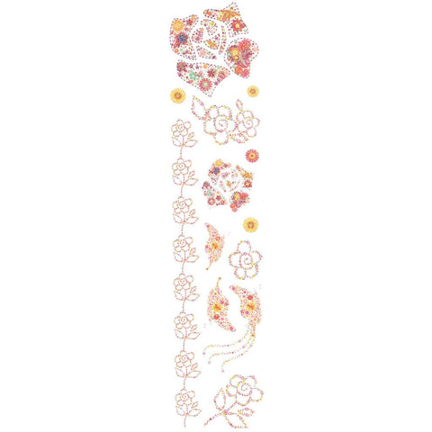 Flowers And Shapes Pink Glitter Temporary Tattoo