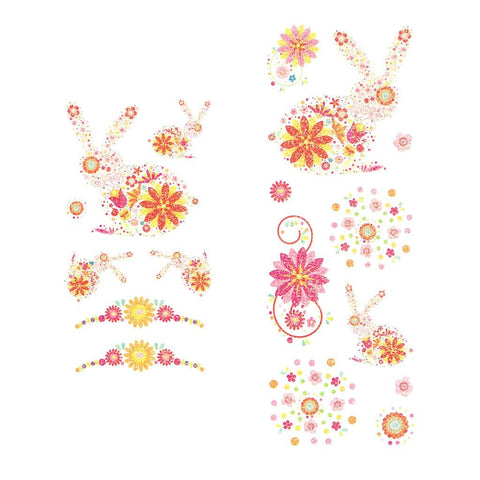 Bunnies And Flowers Pink Glitter Temporary Tattoo