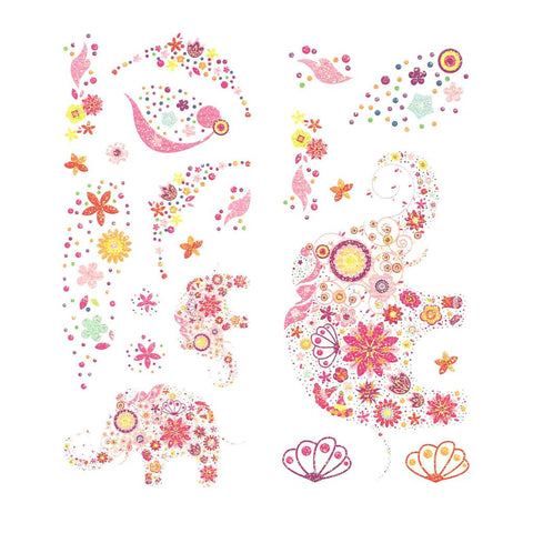 Elephants And Flowers Pink Glitter Temporary Tattoo