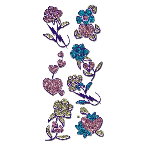 Flower Design Glitter Temporary Tattoo 5