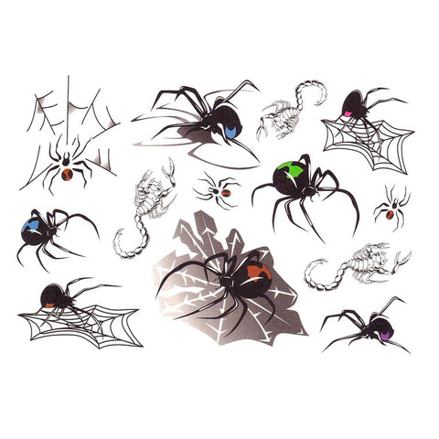 Spiders And Scorpions Temporary Tattoo Themed Sheet