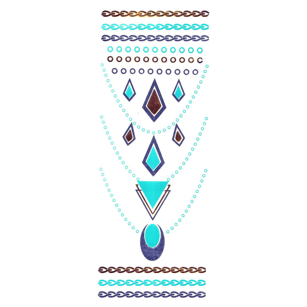 Temporary Tattoo - Gold Silver And Turquoise Metallic Jewellery Tattoo - Design 57