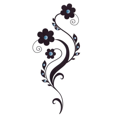Daisy Temporary Leg Tattoo With Blue Rhinestones