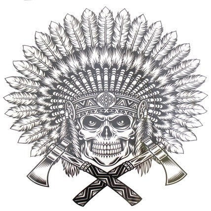 Temporary Tattoo - American Indian Warrior Skull Large Temporary Tattoo