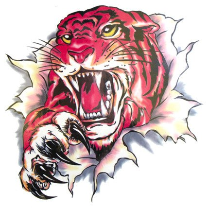 Angry Tiger Large Temporary Tattoo