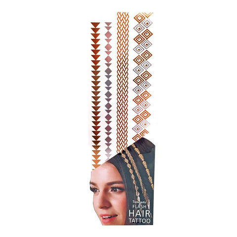 Silver And Gold Metallic Flash Hair Tattoo - Design 3