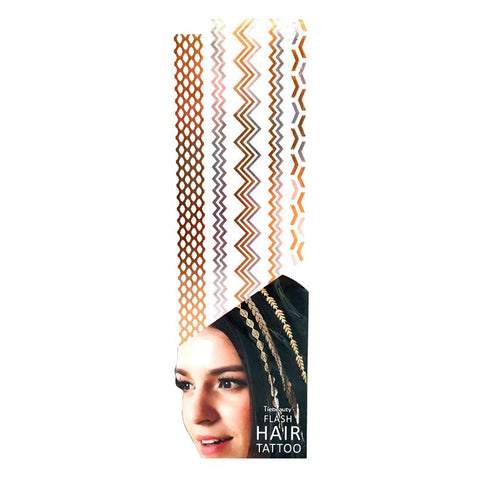 Silver And Gold Metallic Flash Hair Tattoo - Design 6