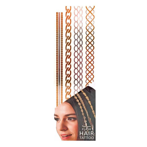 Silver And Gold Metallic Flash Hair Tattoo - Design 8