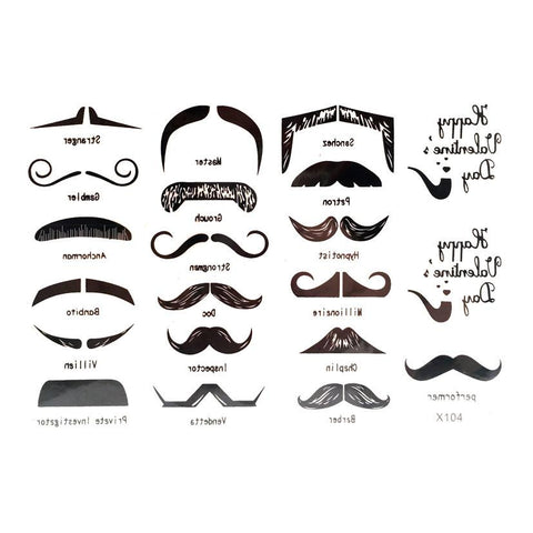 Mini Mustache Temporary Tattoo Themed Sheet