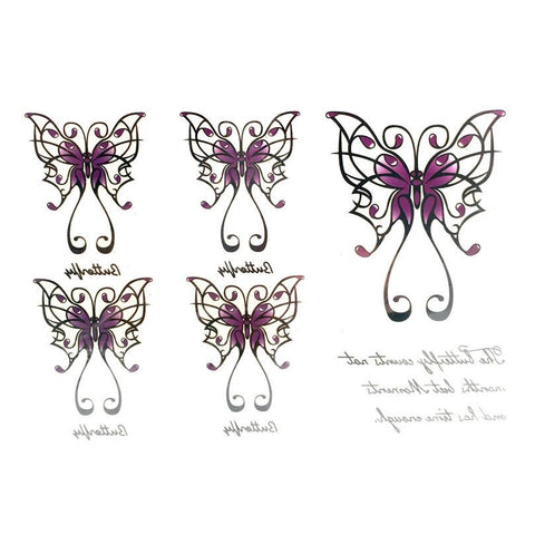 Purple Butterfly Temporary Tattoo Themed Sheet