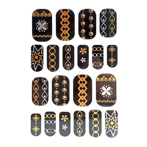 Gold And Silver Design Nail Stickers - Chains and Stars