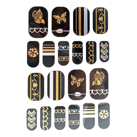 Gold And Silver Design Nail Stickers - Butterflies, Hearts and Stripes