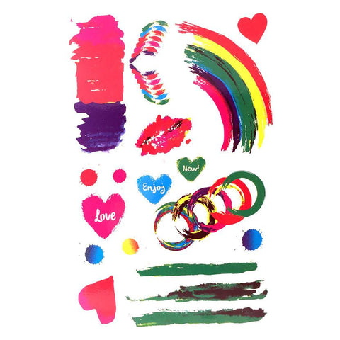 Colourful Paint Temporary Tattoo Themed Sheet - Circles, Hearts And Rainbow