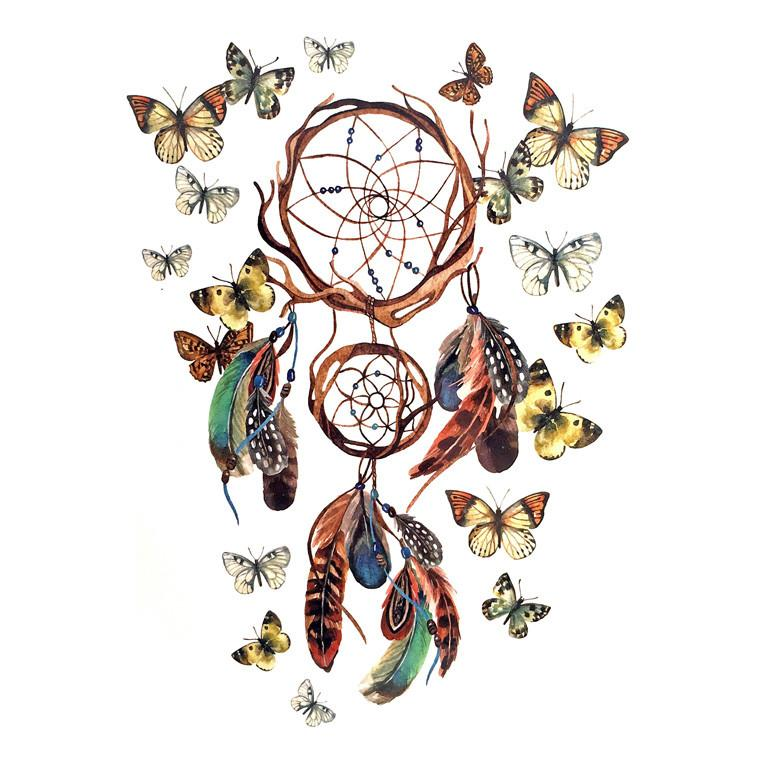 Temporary Tattoo - Dream Catcher Temporary Tattoo Themed Sheet - Design 3